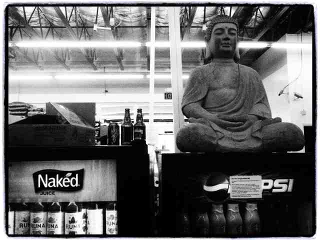"""Naked Juice Buddha"", 17mm Zuiko lens, Grainy Film filter"