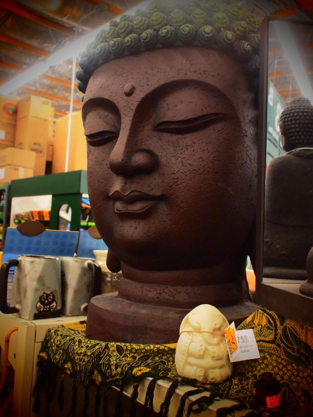 """Supermarket Buddha"", 17mm Zuiko lens, Pop Art filter"