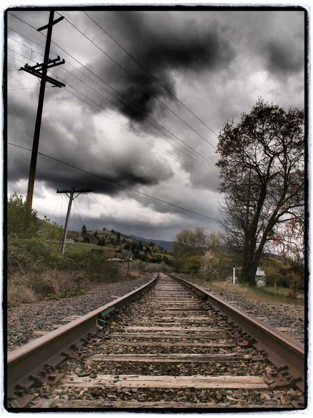"""Train Tracks, Talent, Oregon"", 17mm Zuiko lens, Dramatic tone filter"
